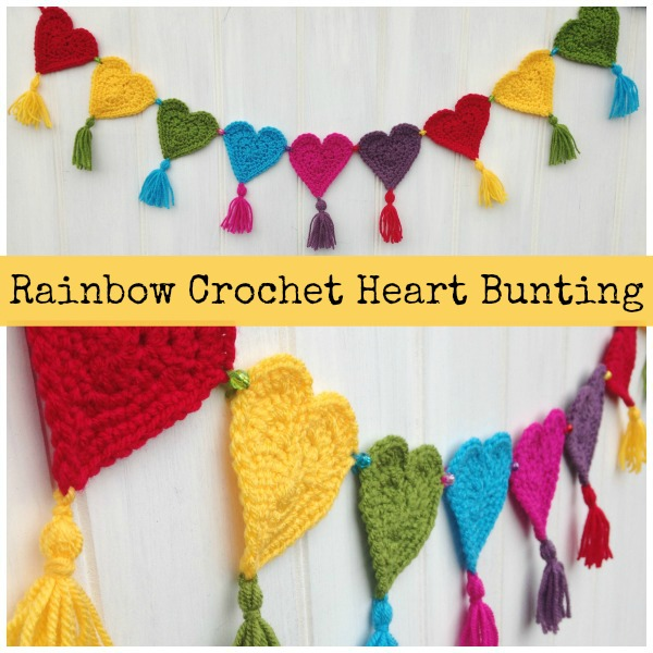 Rainbow heart crochet garland