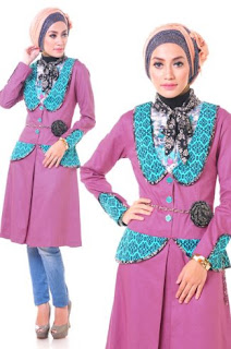 Baju kerja batik muslim kombinasi