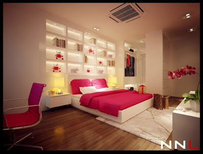 one of modern bedroom sets with white colors and pink bed covers