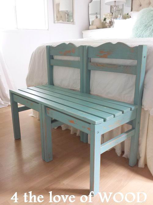 4 The Love Of Wood Bench Made From Chairs Painted In
