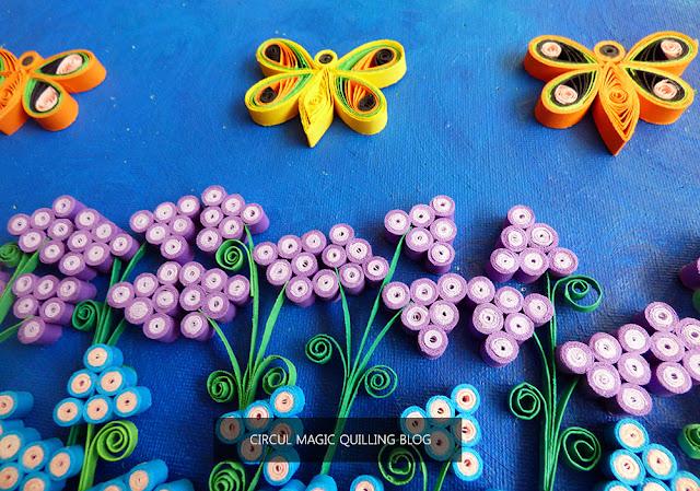 Circul Magic Handmade Tablou Quilling Primavara Flori si Fluturi