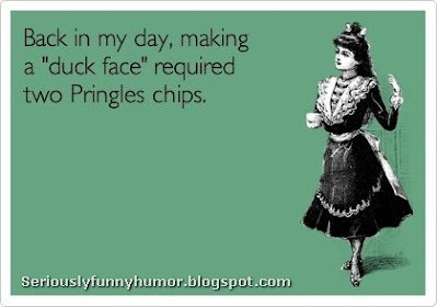 "Back in my day, making a ""duck face"" required two Pringles chips - Funny Meme"