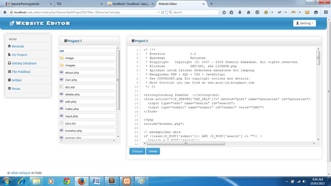dan mumpung si axis mau diajak gretongan Source Code Aplikasi Web Editor Online Free Dengan Codeigniter