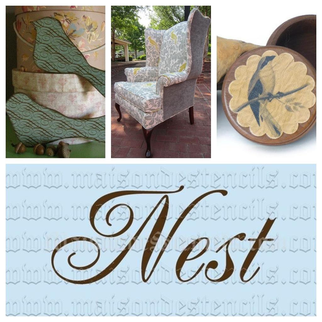 0c61fbeb3c 1B  Bird Accent Chair Image Courtesy UrbanMotifs. 1C  Vintage Style Bird  Powder Box Image Courtesy DreamingTreeFarm. 1D  Nest 5.5x11.5 Stencil Image  ...