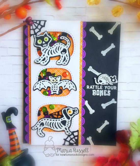 Halloween Skeletons Card by Maria Russell | Spooky Skeletons Stamp set by Newton's Nook Designs #newtonsnook #handmade #halloween