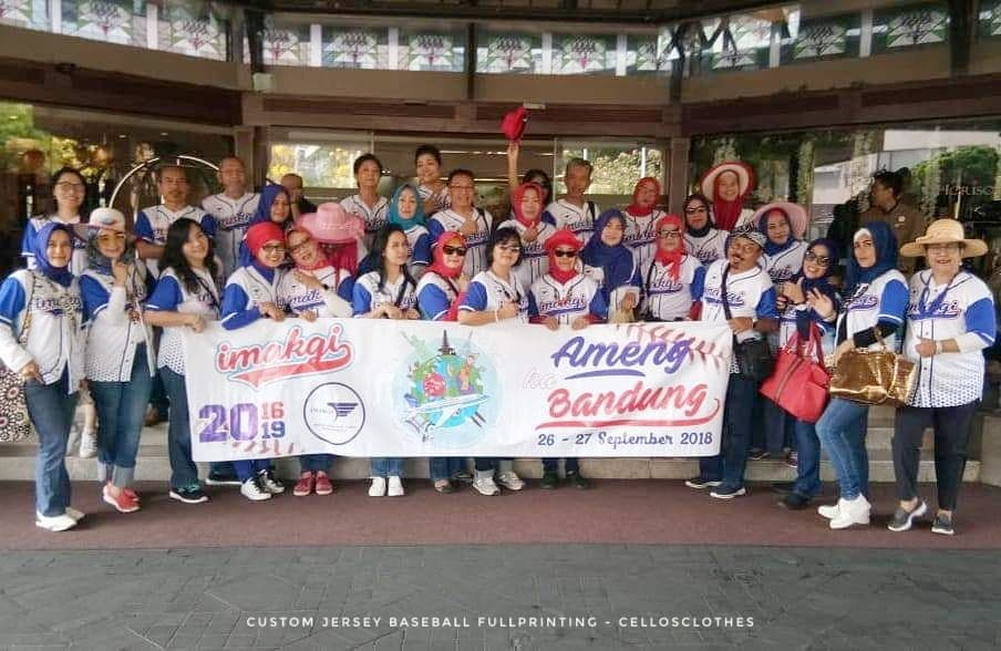Custom Baju Komunitas dengan Pola Jersey Baseball Full Printing Full Colour