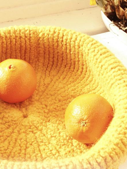 Вязаная корзинка для фруктов