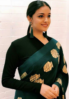 Keerthy Suresh in Black Saree with Cute and Awesome Lovely Smile for Galatta Nakshatra Awards
