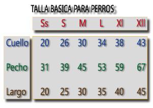 tabla de medida canina