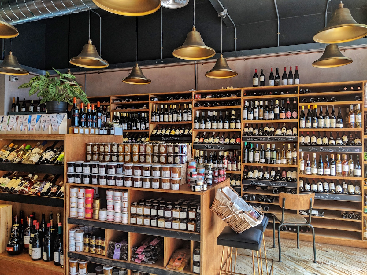 Epicerie with plenty of French wines and foods in Authentique, Kentish Town