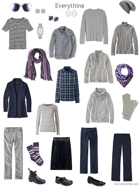 travel capsule wardrobe in navy and grey with purple accents