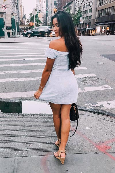19 Stylish Fall Outfits to Copy in 2018 | Off Shoulder Dress + Ankle Strap Heels