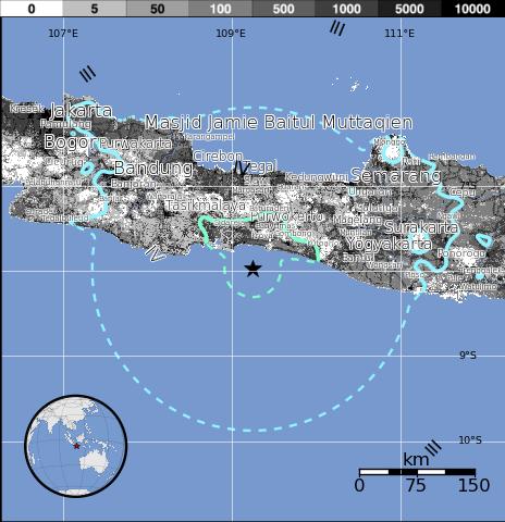 Epicentro sismo 6,1 grados en Indonesia, 25 de Enero 2014