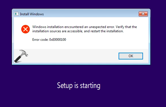 "Sửa lỗi ""Windows installation encountered an unexpected error"""