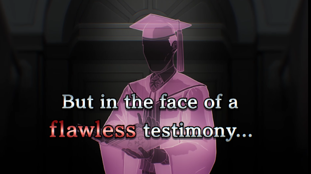Wesley Stickler flawless testimony Apollo Justice Ace Attorney story trailer silhouette