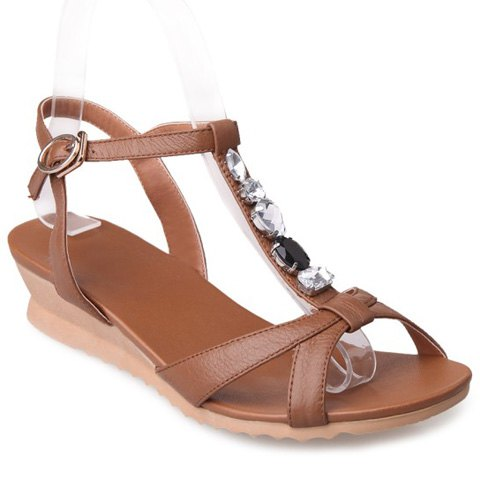 Brown t-strap sandals
