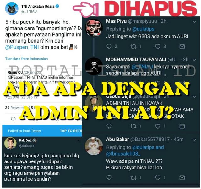 """Ragukan Pernyataan Panglima TNI, Admin TNI AU Keok """"DIHAJAR"""" Netizen"""
