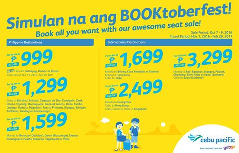 Cebu Pacific Seat Sale Promo 2016-2017