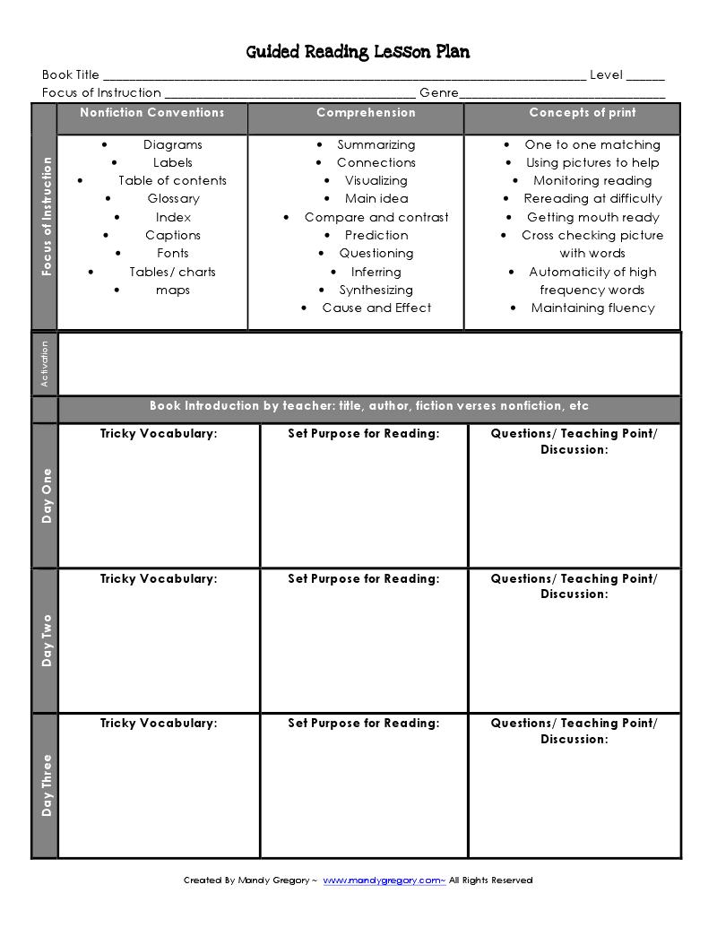 reading lesson plan template | Language Arts | Pinterest