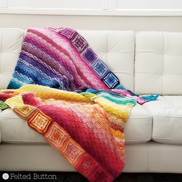 Every Bit a Blanket by Felted Button using Scheepjes Cahlista Colour Pack (free pattern coming soon)