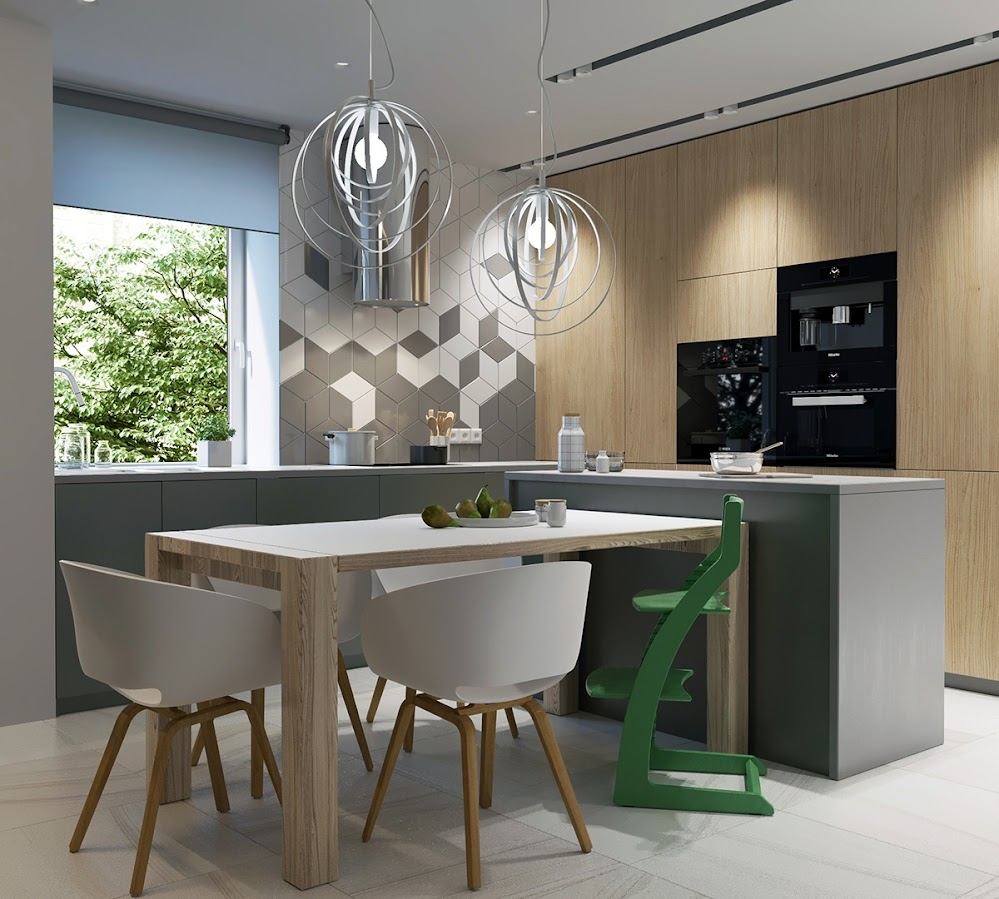 modern-kitchen-wood-table-green-highchair-black-appliances