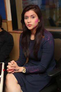 Actress Mannara Chopra Stills in Blue Short Dress at Rogue Song Launch at Radio City 91.1 FM  0049.jpg