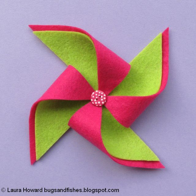 add a button to the centre of the felt pinwheel