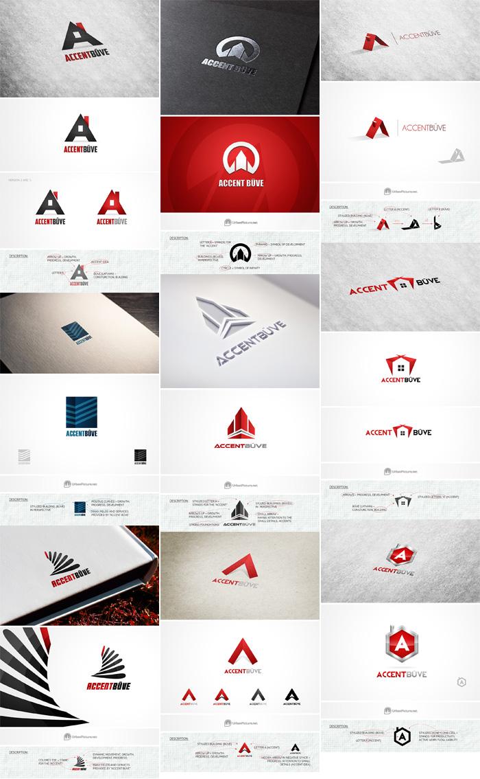 """Būvfirmas """"AccentBūve"""" logo koncepti"""