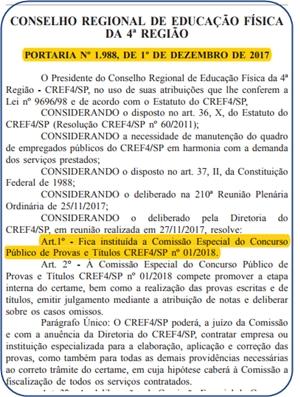 edital concurso CREF-SP 2018