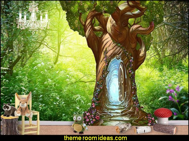Enchanted Tree Door Wall Decal  fairy forest woodland animals decorating