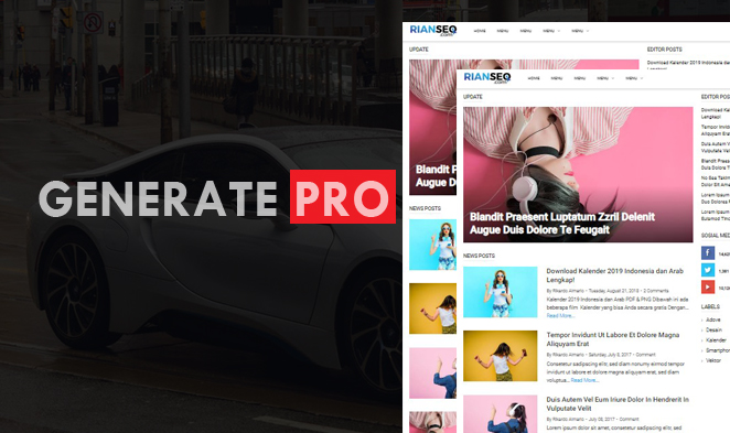 Generate Pro Blogger, Blogger template premium 2019, Simple template blogger,