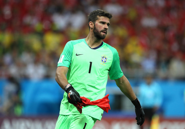 Alisson of Brazil bursts an inflatable ball during the 2018 FIFA World Cup Russia group E match between Brazil and Switzerland at Rostov Arena on June 17, 2018 in Rostov-on-Don, Russia.