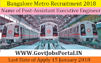 Bangalore Metro Recruitment 2018 – 60 Assistant Executive Engineer & Assistant Engineer