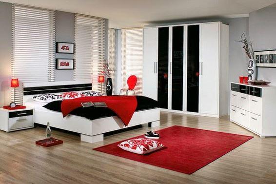 Cara penggunaan warna merah di kamar tidur