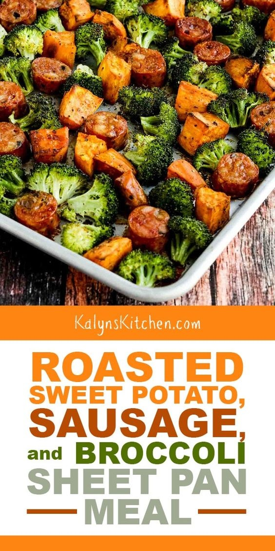 Roasted Sweet Potatoes, Sausage, And Broccoli Sheet Pan Meal