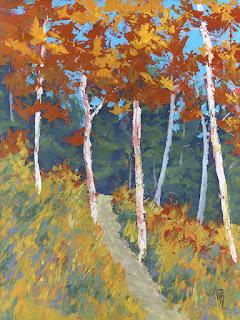 landscape painting nature mountain aspen fall autumn tree
