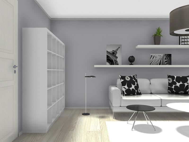 Wohnzimmer schwarz weiß Industrielampe