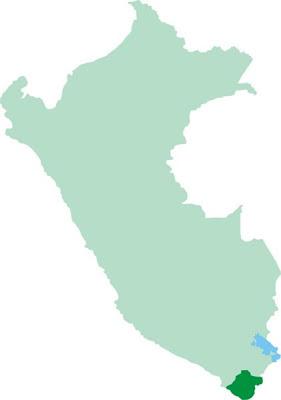 Dibujo de la ubicación de Tacna en el Mapa del Perú