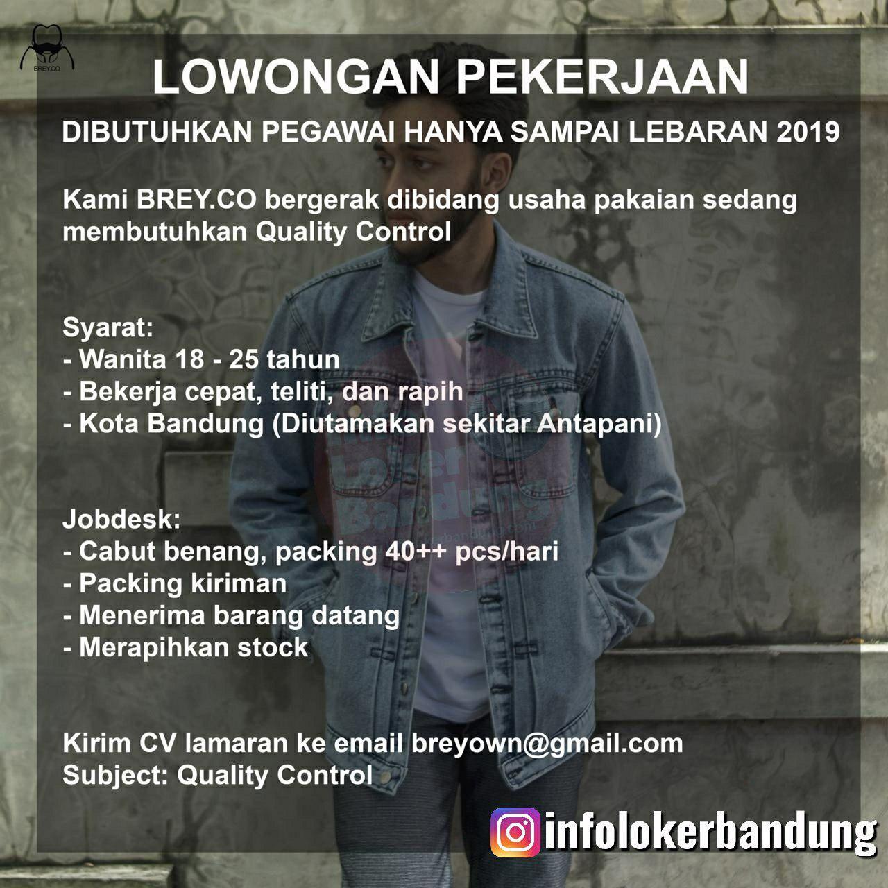 Lowongan Kerja Quality Control Brey Company Bandung April 2019