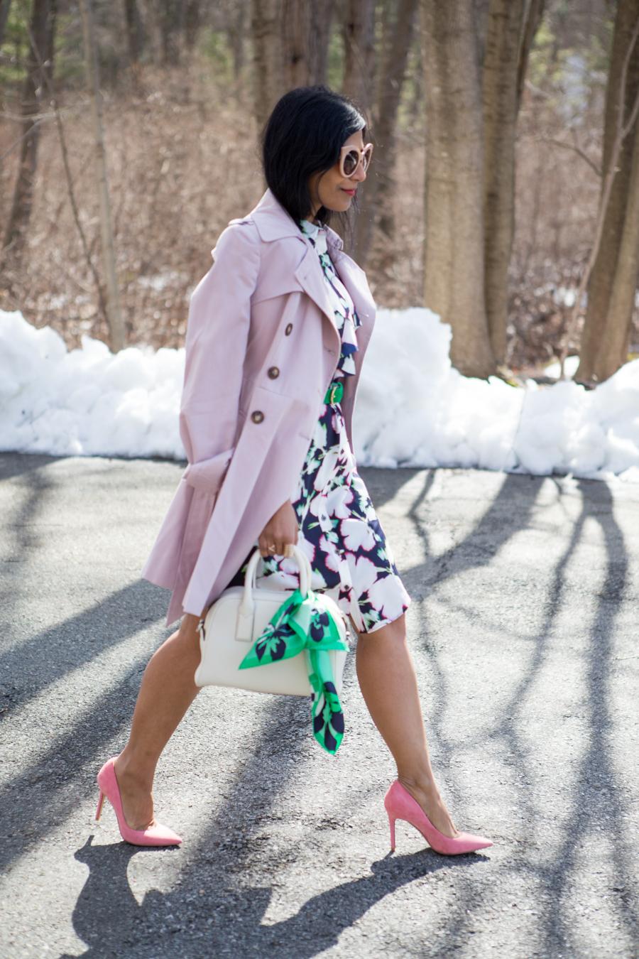 work style, spring style, floral, shirt-dress, feminine, pink, kelly green, classic feminine, fashion, petite style, office style, 9 to 5 style, petite fashion, fashion over 40, banana republic, sam edelman