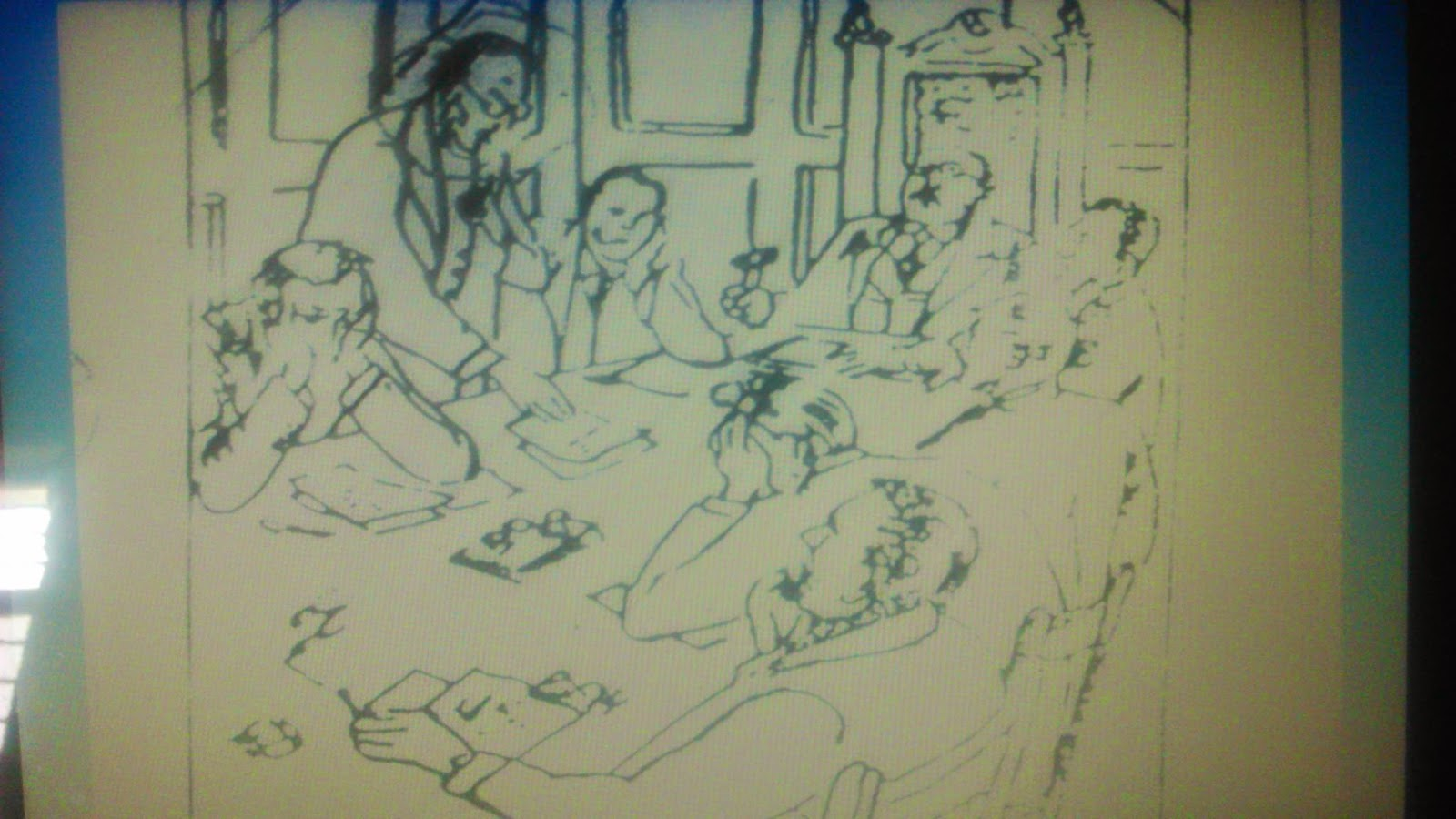 Sample TAT image of some person sitting around table with Story