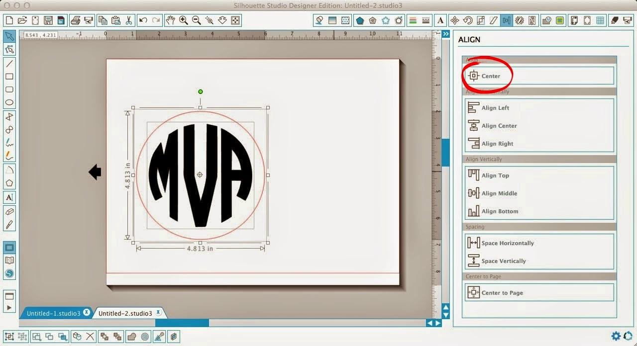 Silhouette Studio, align tool, Silhouette tutorial, center