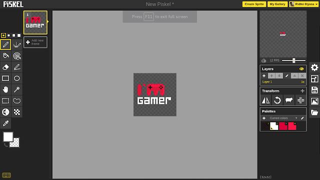 Tampilan Interface Piskel app untuk membuat pixel art