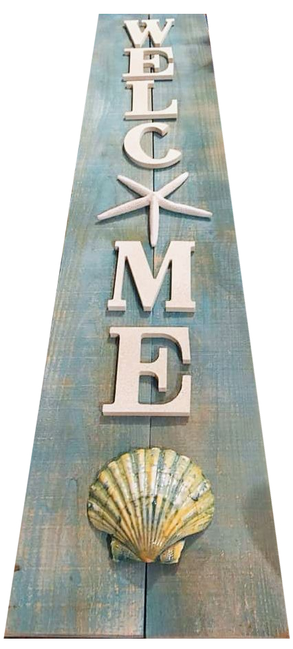 Long Vertical Beach Wood Welcome Sign