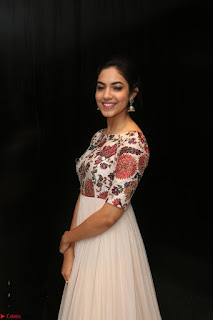 Ritu Varma smiling face Cream Anarkali dress at launch of OPPO New Selfie Camera F3 ~  Exclusive 016.JPG