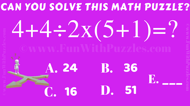 Can you solve this Basic Arithmetic Equation 4+4÷2x(5+1)=?