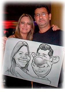 caricatura de casal feita ao vivo em gravatá