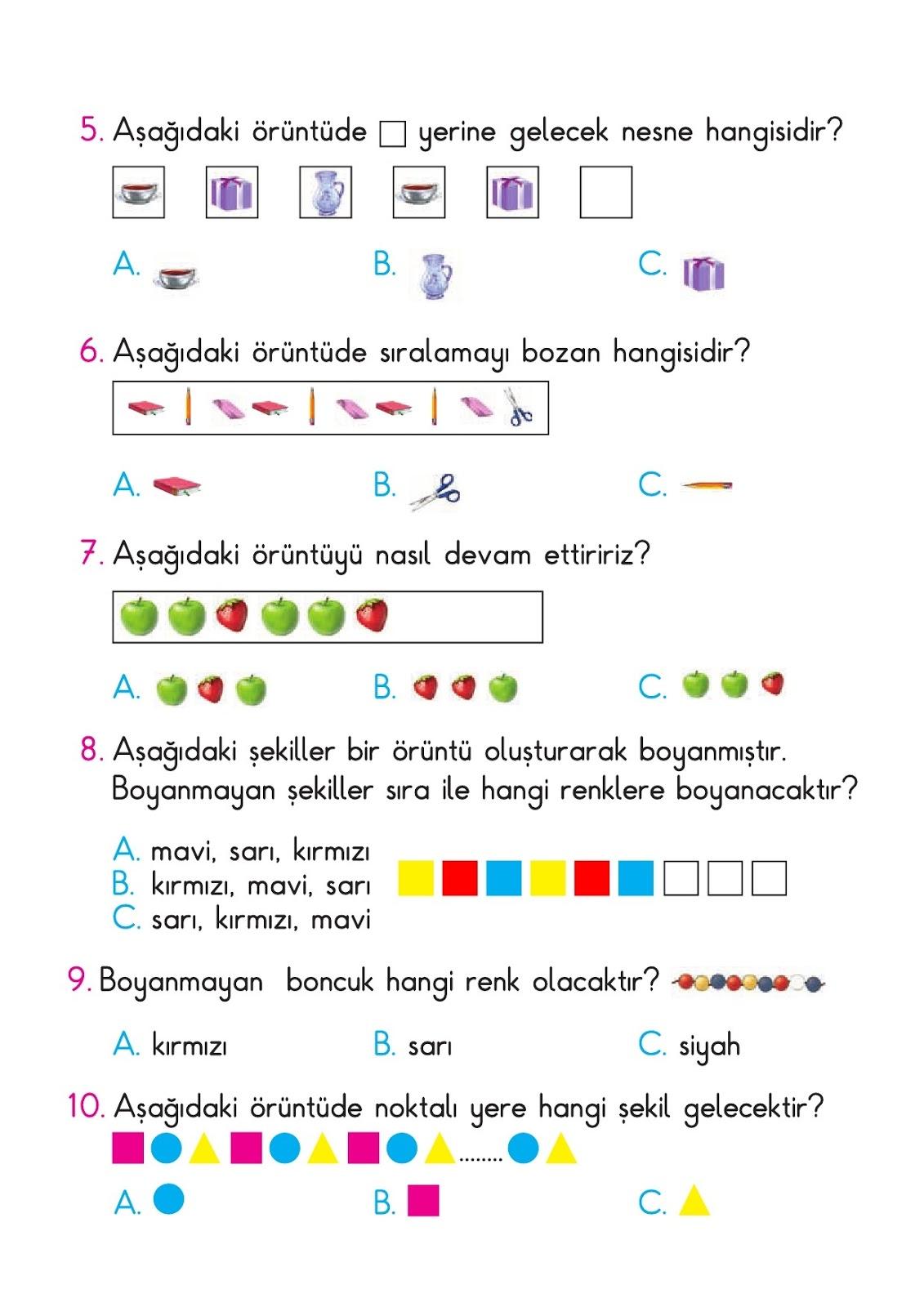 1 Sinif Matematik Testi