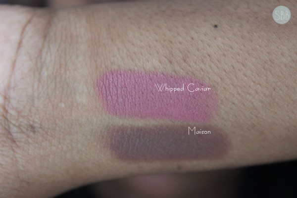 swatches of nyx matte lipsticks in maison and whipped caviar