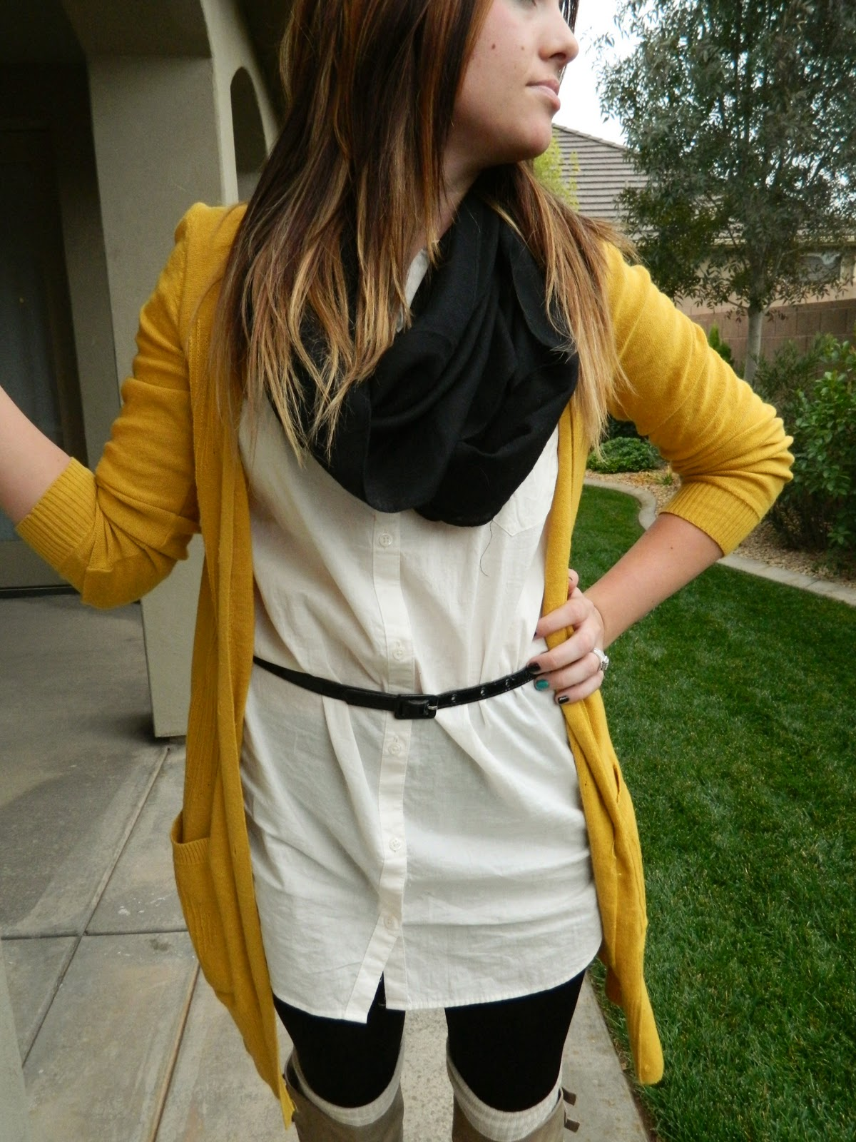 white top, mustard cardigan